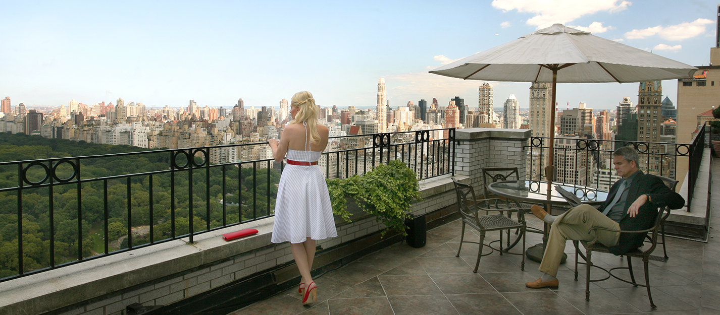 Hampshire House terrace overlooking central park.